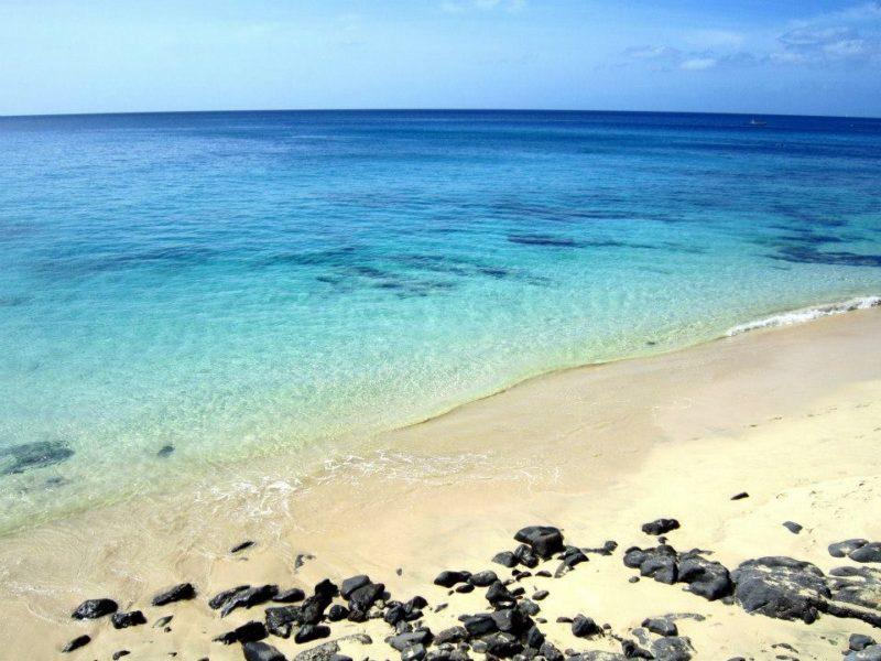 Beautiful blue sea on Fuerteventura